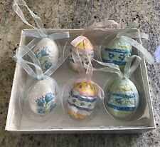 Teena Flanner 2004 Six Spring Egg Ornaments With Ribbon Loop For Hanging