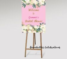 Printable Bridal Shower Welcome Print Personalised Hens Party Floral Pink Roses