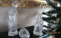 Three pc. Vintage HOLY FAMILY Clear Glass figures  Mary, Joseph & Baby Jesus GH