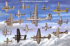 USAAF Warbirds WWII Airplane Educational Military Chart Poster Poster, 36x24