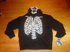 NEW Mens 2XL Skeleton Halloween Costume Hooded Sweatshirt Hoodie XXL Black White