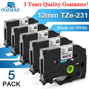 TZe-231 TZ-231 For Brother P-Touch Black on White Label Tape 12mm 0.47 Laminated
