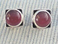 STERLING SILVER 7mm.SQUARE STUD EARRINGS withCARNELIAN CABOCHON STONES £10.50NWT