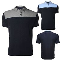 Mens Contrast Panel Grid Knitted Classic Fit Casual Polo T Shirt Tee Top S-XL