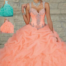 Peach Sweet 16 Quinceanera Dress Formal Prom Party Pageant Ball Wedding Dresses