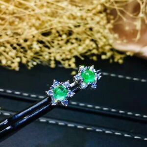 Certified Fashion Natural Columbia Emerald Earrings 925 Silver Plated White Gift