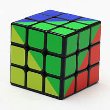 Z-Cube 3x3 Rainbow Speed Magic Cube Jigsaw Twist Puzzle Toys Black with Base