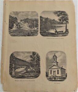 1869 NY Delaware County Print Covered Bridge River Scenes Original Atlas Map