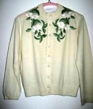 New listing Vtg I. Magnin Cardigan Sweater Frances Lesley Knit Cashmere Embroidered Flowers