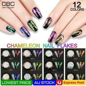 Chameleon Nail Flakes Transparent Duo Nail Art Chrome Powder Polish Mirror Shine
