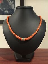 An Antique Italian Natural Coral Necklace. Salmon Colour. 70cm.