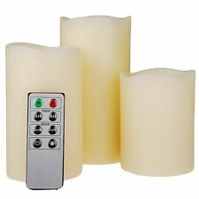 SET OF 3 VANILLA SCENTED WAX MOOD LED FLAMELESS CANDLES WITH REMOTE CONTROL NEW