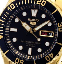 NEW JAPANESE MADE MEN'S SEIKO 5 SPORTS GOLD SUBMARINER AUTOMATIC WATCH SNZF22J1