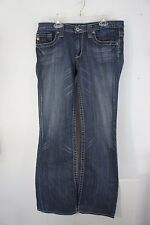BIG STAR MADDIE 19 Boot 27R (32x31) stretch Low Rise Med wash whiskering EUC