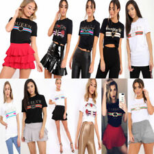 Slogan Striped Graphic T-Shirts for Women