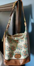 Fossil Re-Issue Maddox hobo Purse Leather Shoulder Bag Tote tapestry
