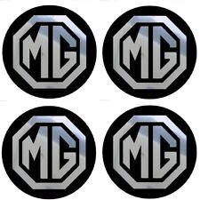 4 adhésifs stickers MG noir chrome 35 à 100 MM centre jantes ( MGA / MGB / MGF )