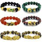 Feng Shui Red Tiger Eyes Stone/ Green Onyx/ Black Obsidian Golden Pixiu Bracelet