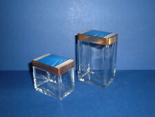 PAIR OF ART DECO GLASS DRESSING TABLE JARS WITH GUILLOCHE ENAMELLED LIDS C 1930