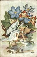 Fantasy Imps Elves & Fairy at Water A. SKAUGE Old Postcard #1