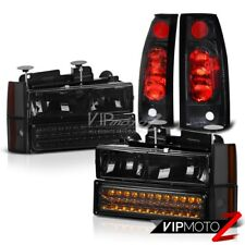 Smoke LED Signal Headlights+Black Rear Brake Tail Light Chevy K1500 K2500 K3500
