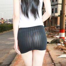 Bodycon Bandage Skirt See Through Micro Mini Booty Leather Look Clubwear Black