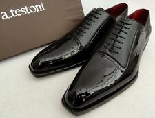 A.TESTONI Nero Pelle Scarpe Derby Uk10 Eu44 US11