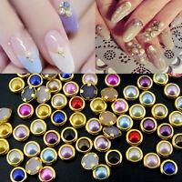 200Pcs 3D Nail Art Glitter Pearls Rhinestone Charm Studs Tips DIY Decoration 4mm