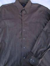 Hugo Boss Mens Button Front Long Sleeve Taupe Designer Cotton Shirt 17