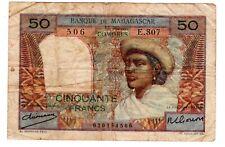 Comores & MADAGASCAR COMOROS Billet 50 FRANCS 1950 P45a BON ETAT