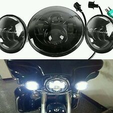 "Black 7"" LED daymaker Headlight + 4.5 Aux Passing Light For Harley Motorcycle"