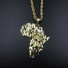 """14k Gold Africa Fist Black Power Pendant 24"""" Rope Chain Necklace African Pride"""