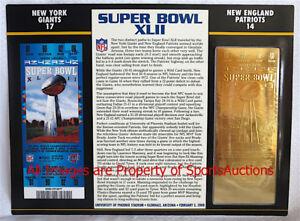 SUPER BOWL 42  NEW YORK GIANTS Patriots 22KT GOLD TICKET Willabee & Ward SB XLII
