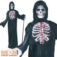 Skeleton + Blood Pump Boys Fancy Dress Halloween Horror Childs Kids Costume New