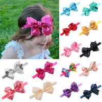 Baby Girls Infant Hair Band Sequined Bow Headbands Turban Knot Hair Headwear