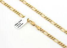Damen Herren Halskette Figarokette 51cm x 6mm 585 Gold 14K vergoldet 1003