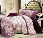 Comfortable Cotton Flowers Pattern Multicolour King Size 4-Pieces Home Bedding