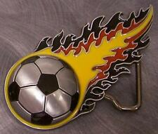 Pewter Belt Buckle sports Flaming German Soccer Ball NEW