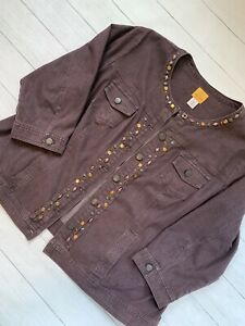 Women's Ruby Rd Size 22 Purple Tone Jean Jacket With Jewels 3/4 Sleeve Excellent