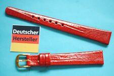 "Calf Leather Watch Band with Lizzard Embossing 0.51"" Red Deutscher Hersteller"