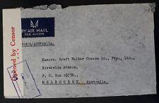RARE 1941 Thailand Airmail Censor Cover ties 2 stamps canc Bangkok to Australia
