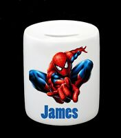 Personalised Name Spider Man Money Box Piggy Bank Boy Birthday Christmas Gift