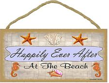 "Happily Ever After At the Beach Wall Ocean Seashell Decor Sign Plaque 5""x10"""