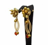 NEW EVITA PERONI EARRINGS GOLD PLATED PEARLS CRYSTALS DELICATE DROP - VINTAGE