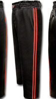 V.Sports Kickboxing Satin Trousers Training Pants Black with 2 yellow stripes Kids//adults