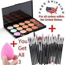 Makeup Contour Face Cream CONCEALER Palette 15 Color + 20PC Brushes SILVER PINK