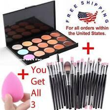 Makeup Contour Face Cream CONCEALER Palette 15 Color + 20PC Brushes SILVER PINK