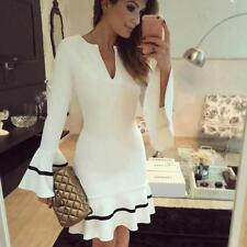 Womens Ladies Gown Evening Party Dress Long Sleeve Bodycon Short Mini Dress Lot