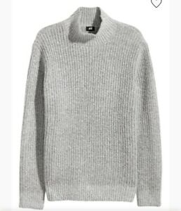 NEW H&M Gray Ribbed Mock Neck Sweater Men's Medium