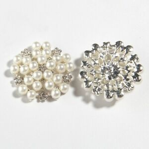 50PCS 33MM Crystal Pearl Metal Rhinestone Buttons Embellishment For Hat Shoes